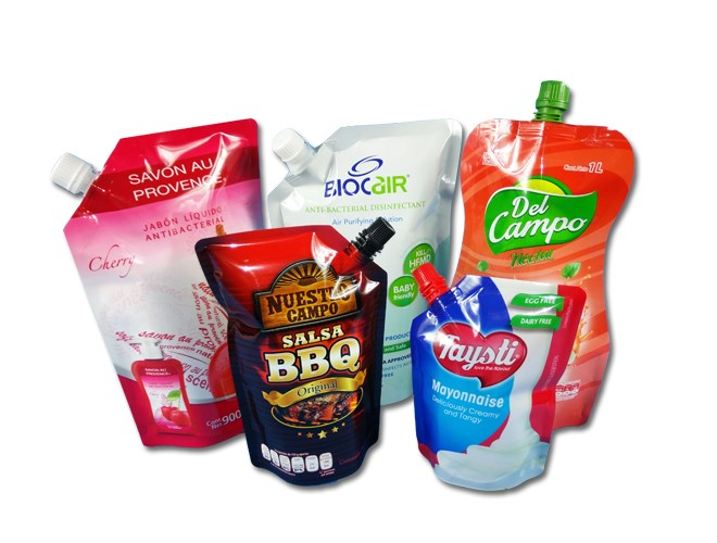 Liquid Laundry detergent Packaging pouch with spout