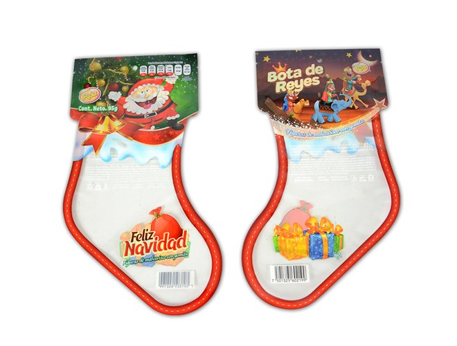 Christmas stocking shape pouch for promotion confectionery packaging