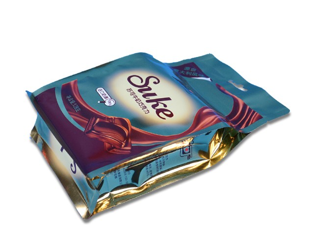 Flat bottom box pouch with zipper for chocolate bar packaging