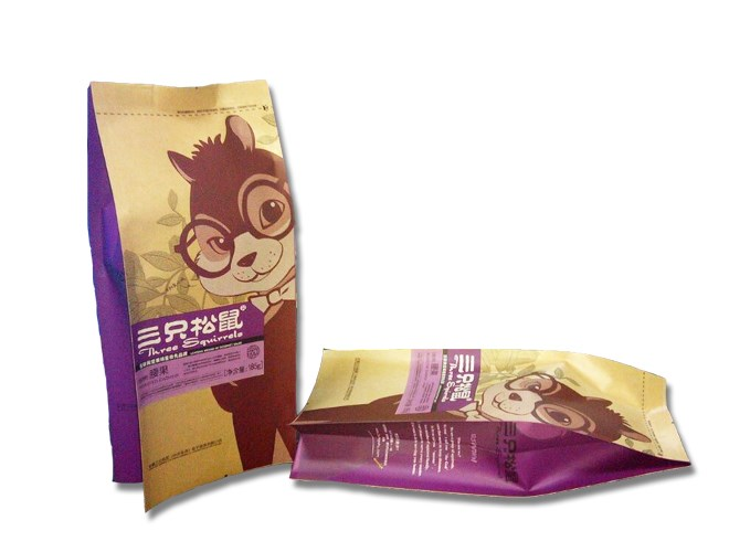 Kraft paper printed gusset bag for snacks packaging